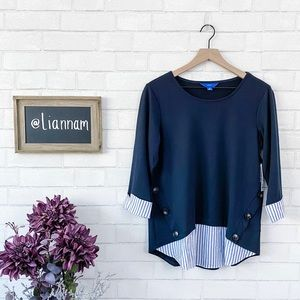 Apt. 9 French Terry Navy Layered Shirttail Top